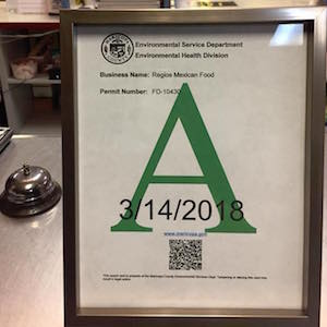Regios Mexican Food A Rating Health Inspection Phoenix 2018